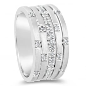 18ct White Gold 5 Row Scattered Diamond Ring