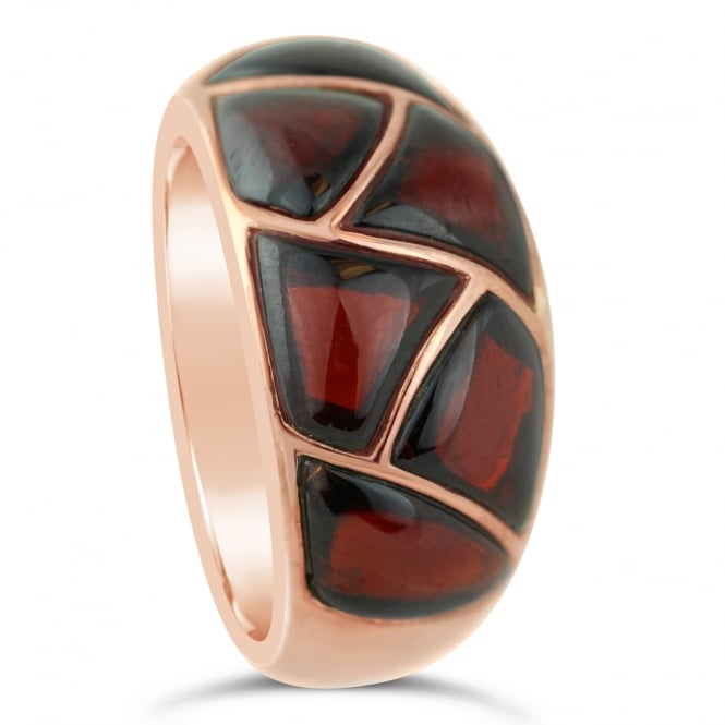 Amore 9ct Rose Gold Garnet Inlay Ring