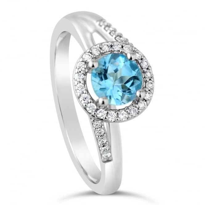 Amore 9ct White Gold Diamond & Blue Topaz Cluster Ring