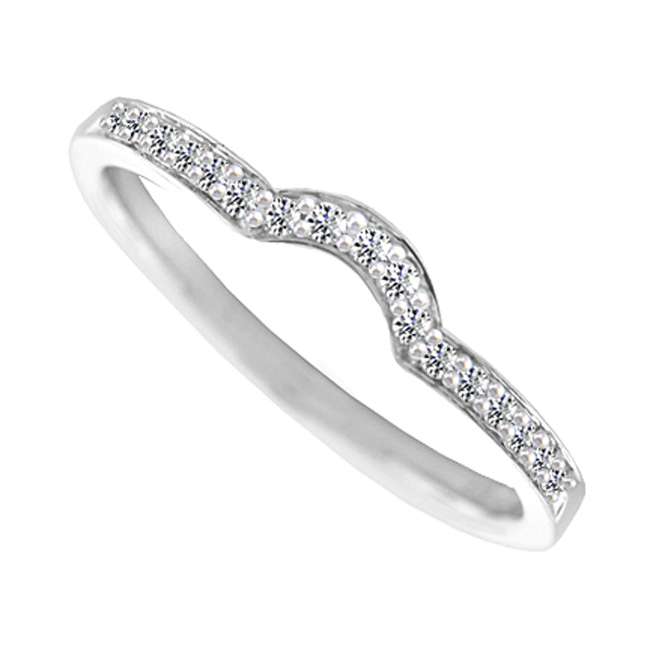 Amore 9ct White Gold Diamond Set Curve Ring