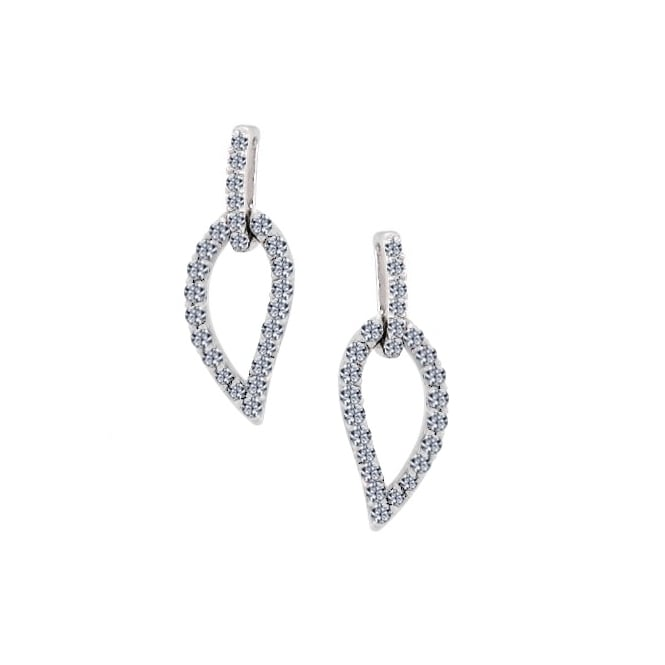 Amore 9ct White Gold Diamond Set Leaf Earrings