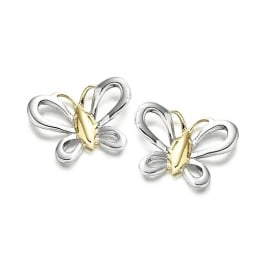 9ct White Gold Florence Butterfly Stud Earrings