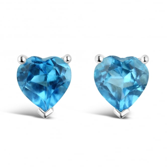 Amore 9ct White Gold Heart Shaped Blue Topaz Earrings