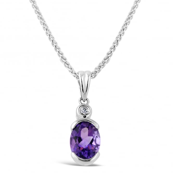 Amore 9ct White Gold Oval Amethyst & Diamond Necklace