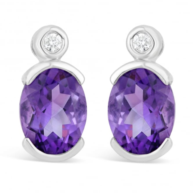 Amore 9ct White Gold Oval Amethyst Stud Earrings