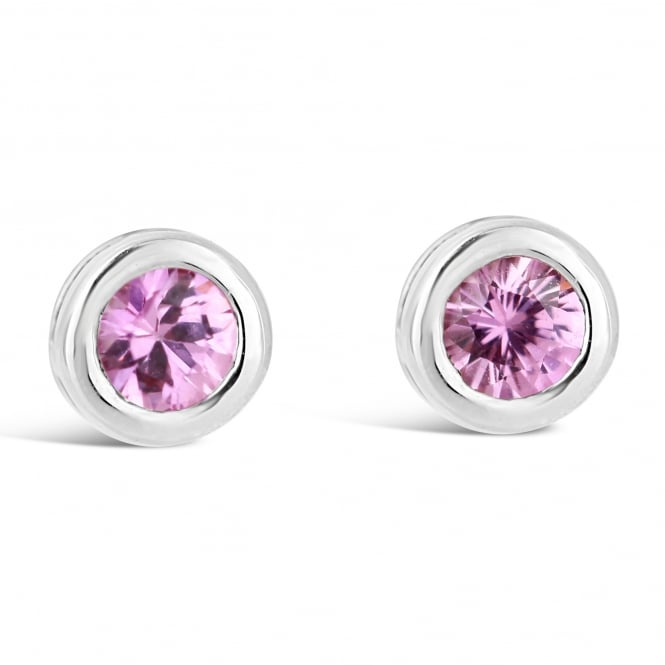 Amore 9ct White Gold Round Pink Sapphire Stud Earrings