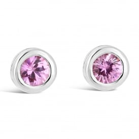 9ct White Gold Round Pink Sapphire Stud Earrings