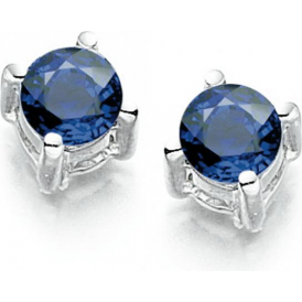 9ct White Gold Sapphire Bella Stud Earrings