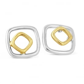 9ct White & Yelllow Gold Rounded Square Stud Earrings