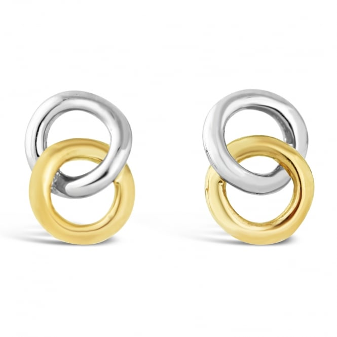 Amore 9ct White & Yellow Double Circle Stud Earrings