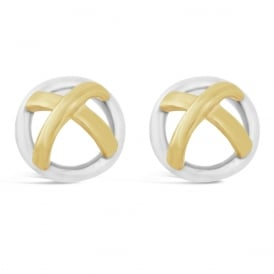 9ct White & Yellow Gold Domed Kiss Stud Earrings