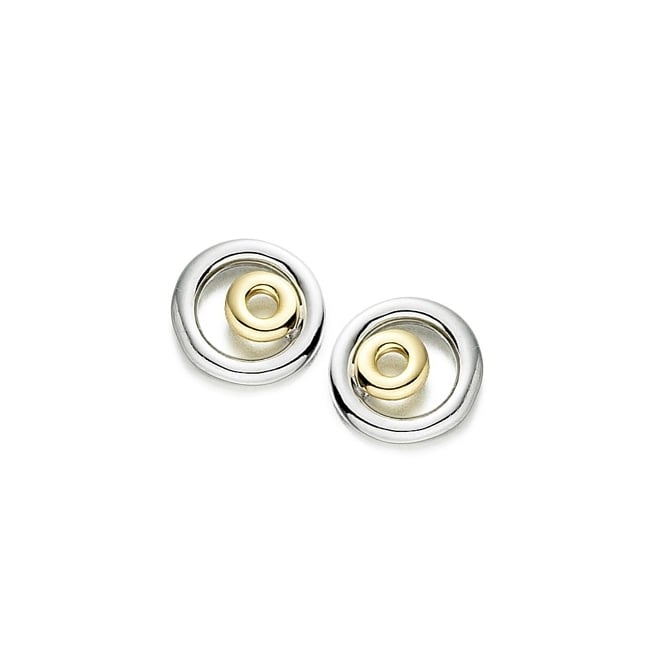 Amore 9ct White & Yellow Gold Double Circle Stud Earrings