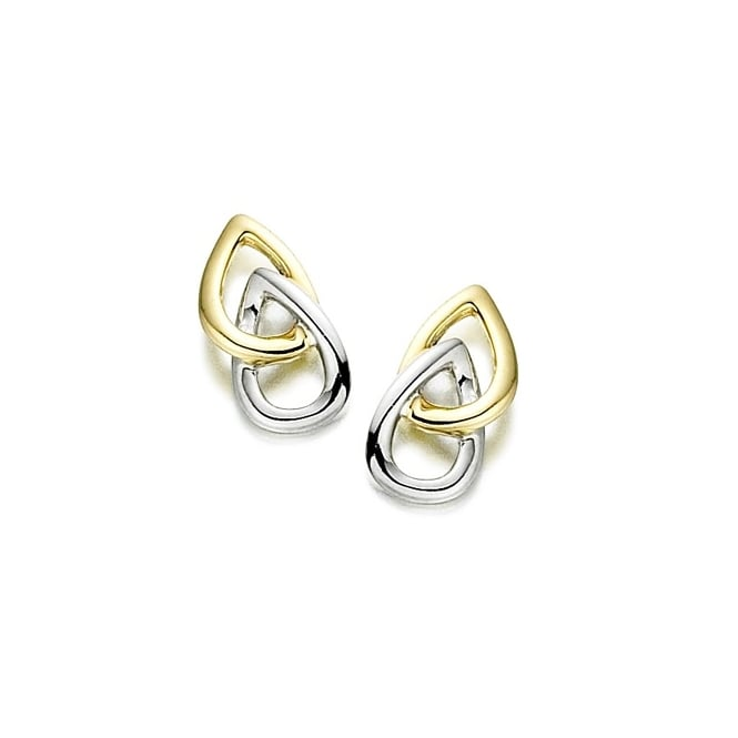 Amore 9ct White & Yellow Gold Double Pear Stud Earrings