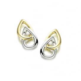 9ct White & Yellow Gold Double Pear Stud Earrings