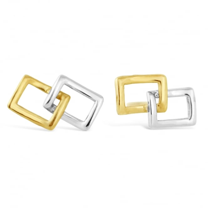 Amore 9ct White & Yellow Gold Double Rectangle Stud Earrings