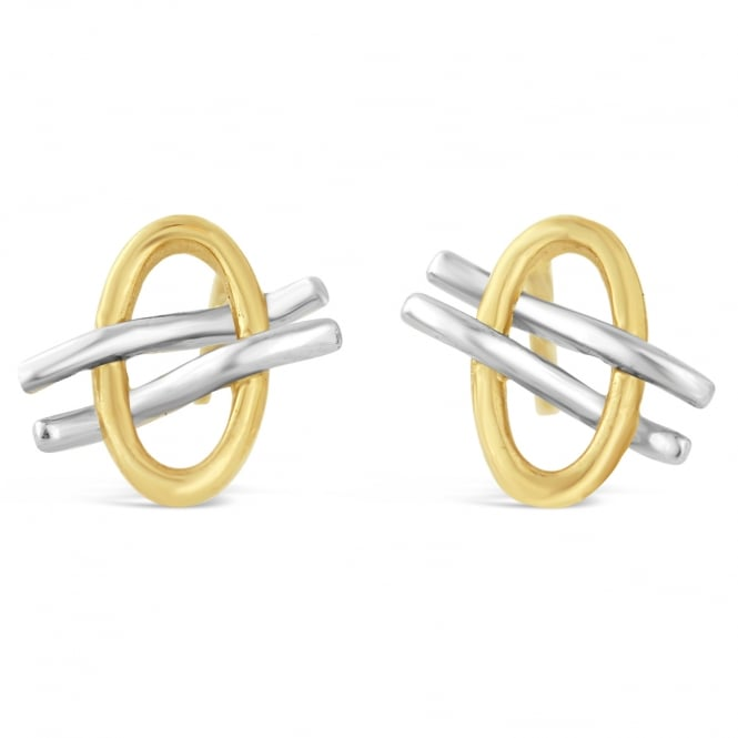 Amore 9ct White & Yellow Gold Lined Oval Stud Earrings