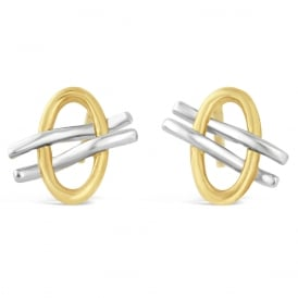 9ct White & Yellow Gold Lined Oval Stud Earrings