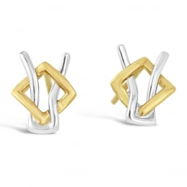 9ct White & Yellow Gold Open Knot Stud Earrings