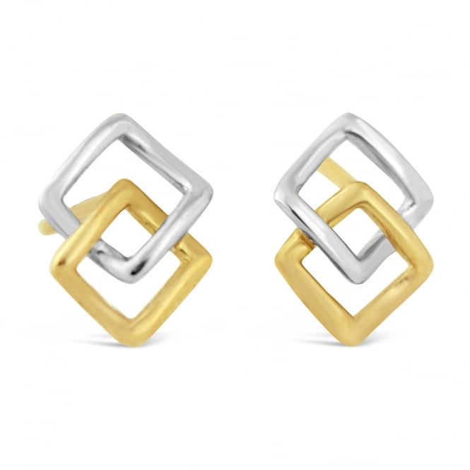 Amore 9ct White & Yellow Gold Open Square Stud Earrings