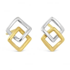 9ct White & Yellow Gold Open Square Stud Earrings
