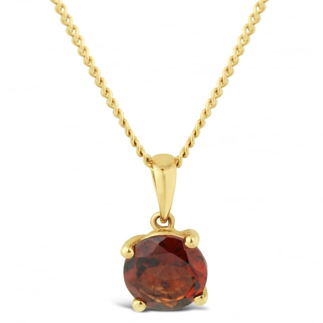 Amore 9ct Yellow Gold 7mm Garnet Necklace
