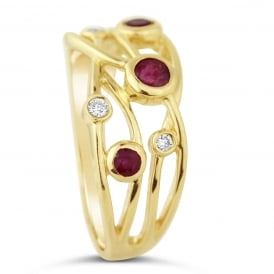 9ct Yellow Gold Diamond & Ruby Set Dress Ring