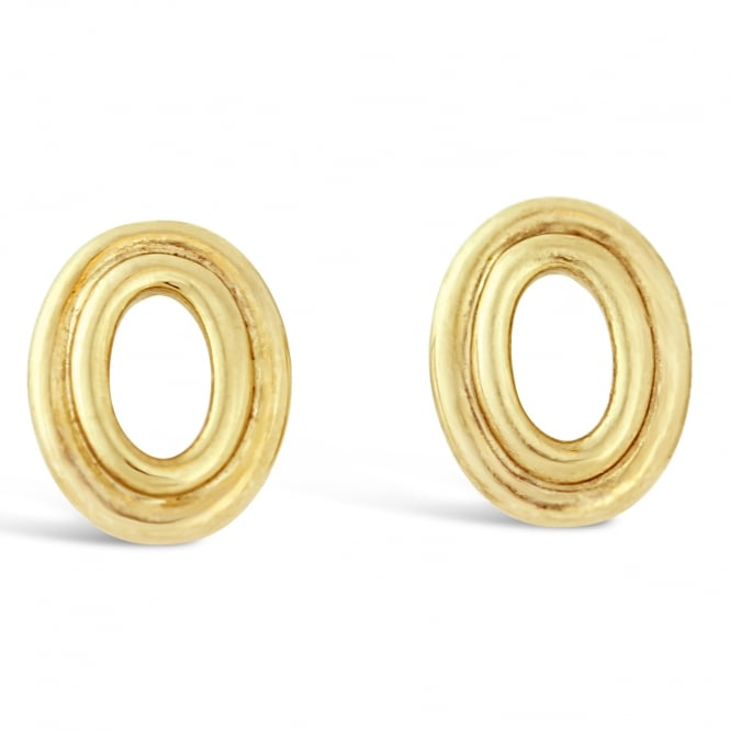 Amore 9ct Yellow Gold Oval Cut Out Stud Earrings