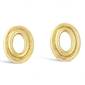 9ct Yellow Gold Oval Cut Out Stud Earrings