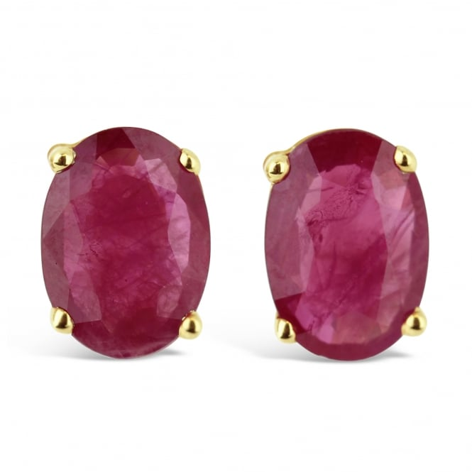 Amore 9ct Yellow Gold Oval Cut Ruby Stud Earrings