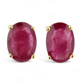 9ct Yellow Gold Oval Cut Ruby Stud Earrings