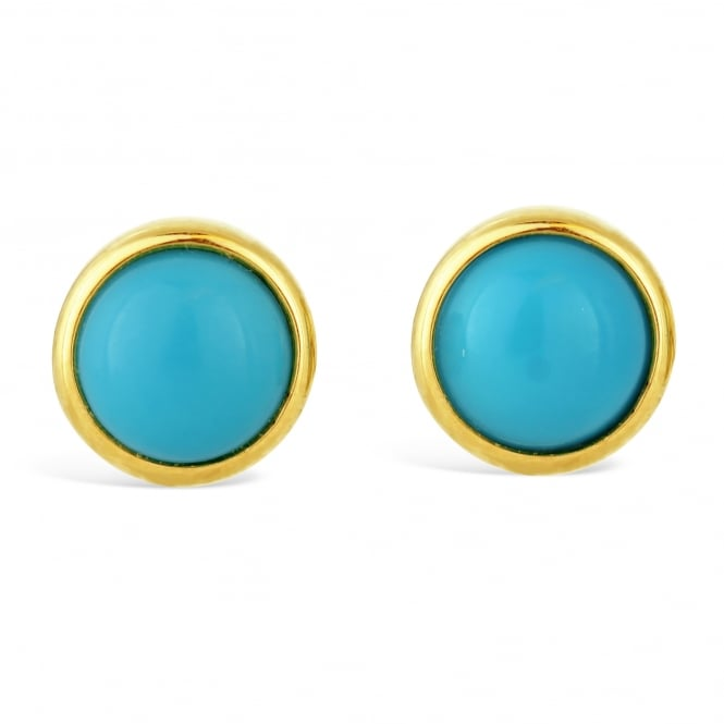 Amore 9ct Yellow Gold Round Turquoise Stud Earrings