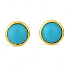 9ct Yellow Gold Round Turquoise Stud Earrings