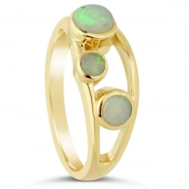 9ct Yellow Gold Three Stone Opal Dress Ring