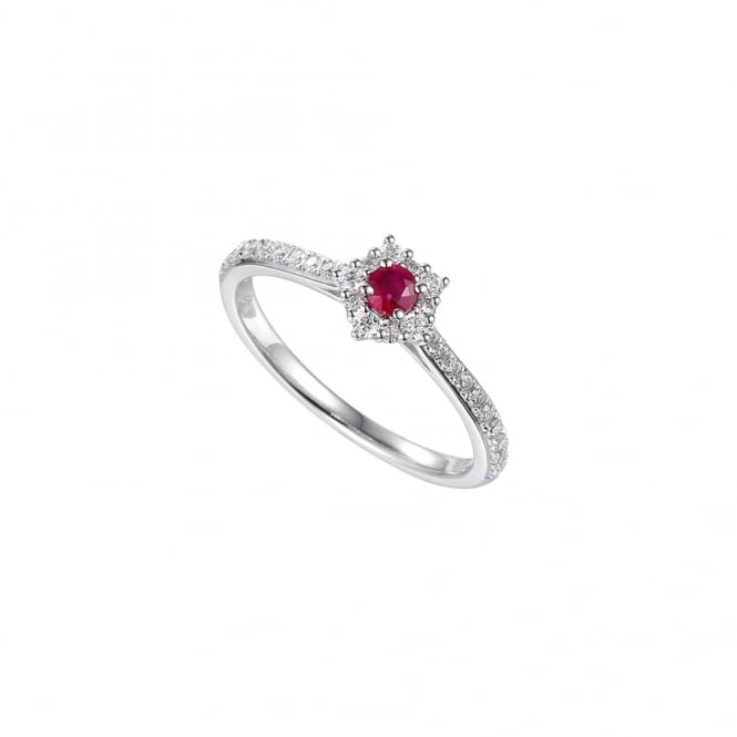 Amore Sterling Silver Ruby Cluster Ring
