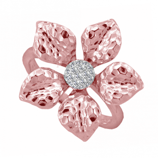 Amore Rose Gold Pink Lily Ring