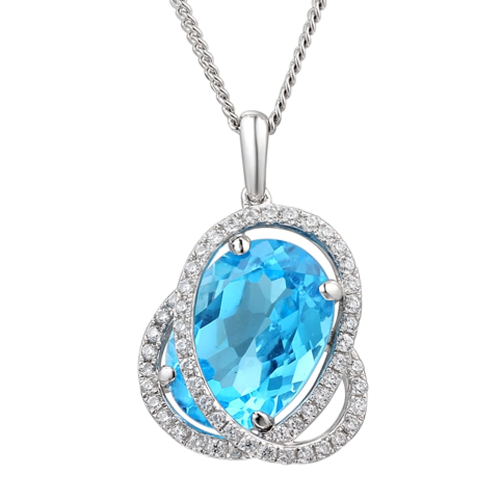 topaz gemstone original sweep chain products jewelry silver sterling necklace collections blue pendant