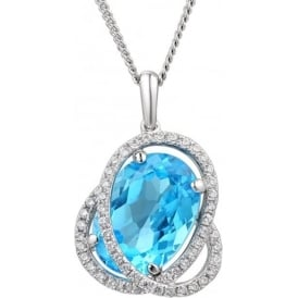 Silver And Regal Blue Topaz Necklace
