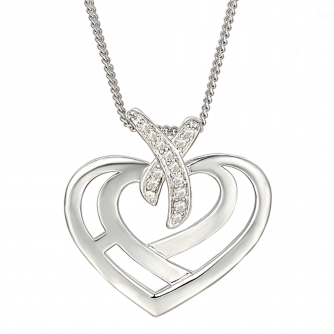 Amore Silver Love & Kisses Heart Necklace