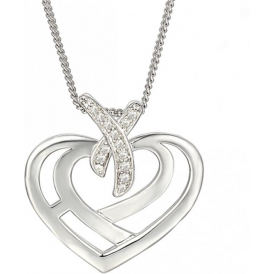 Silver Love & Kisses Heart Necklace