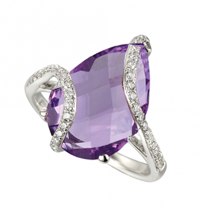 Amore Sterling Silver Amethyst Spiral Ring
