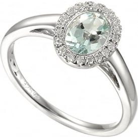 Sterling Silver And Aquamarine Cluster Ring