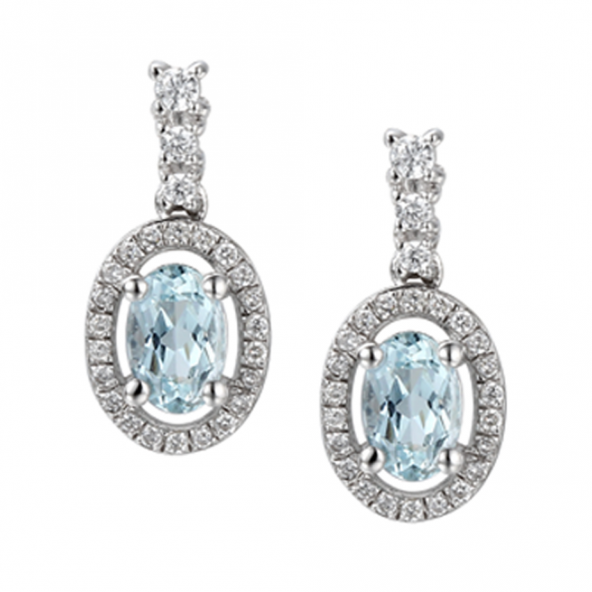 Amore Sterling Silver Aqua Blue Drop Earrings