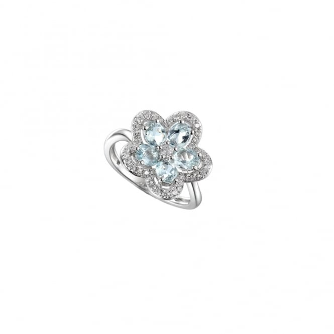 Amore Sterling Silver Camellia Aquamarine Ring