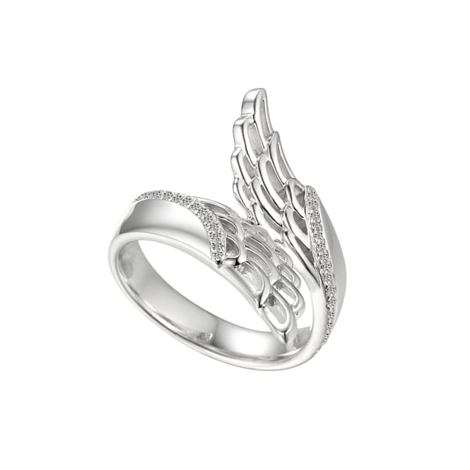 Amore Sterling Silver & Cubic Zirconia Angel Wing Ring