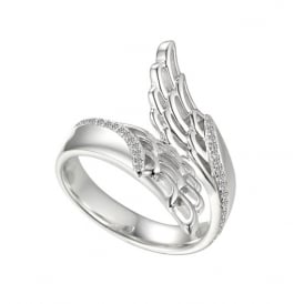 Sterling Silver & Cubic Zirconia Angel Wing Ring