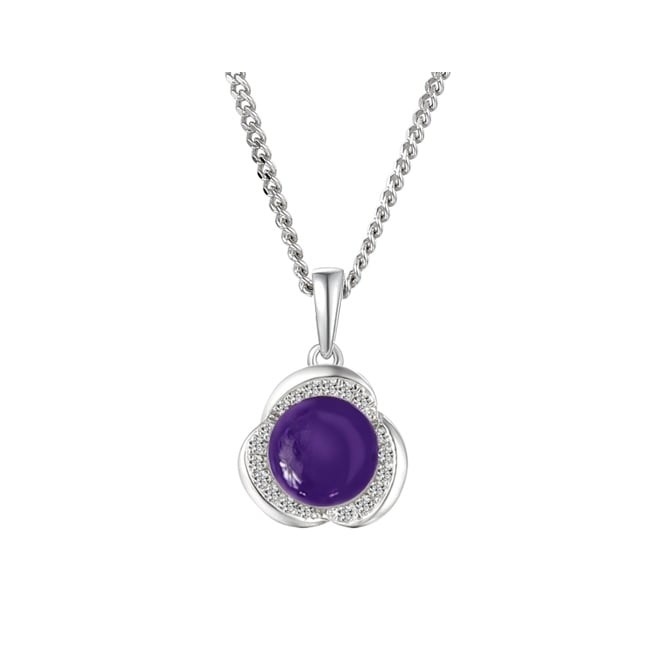 Amore Sterling Silver Iris Amethyst Floral Necklace