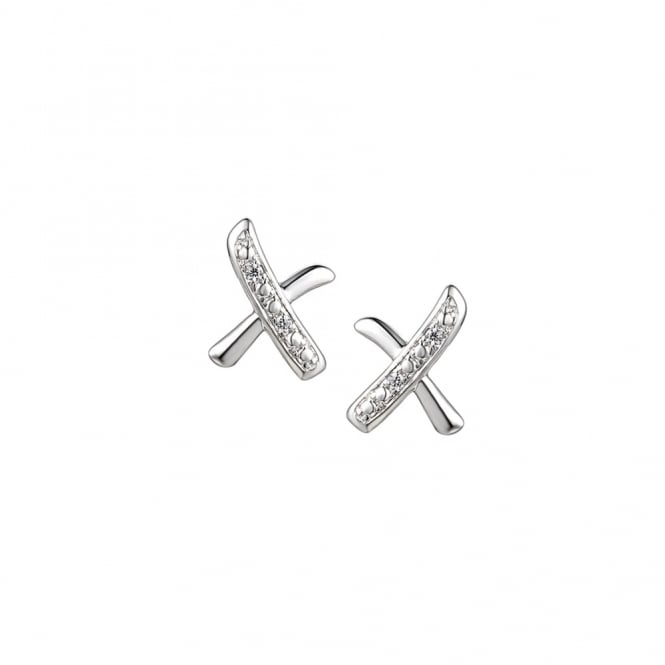 Amore Sterling Silver 'Kisses' Stud Earrings