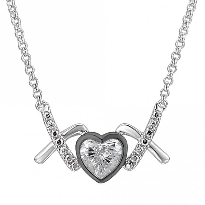 Amore Sterling Silver Love & Kisses Naughty Necklace