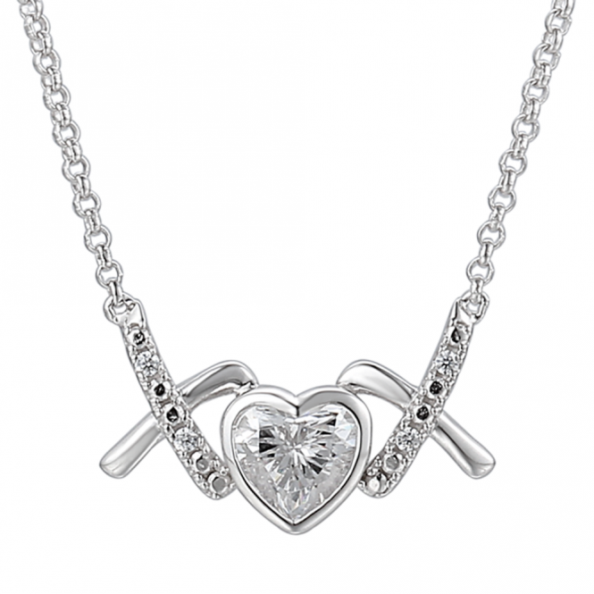 Amore Sterling Silver Love & Kisses 'Nice' Necklace