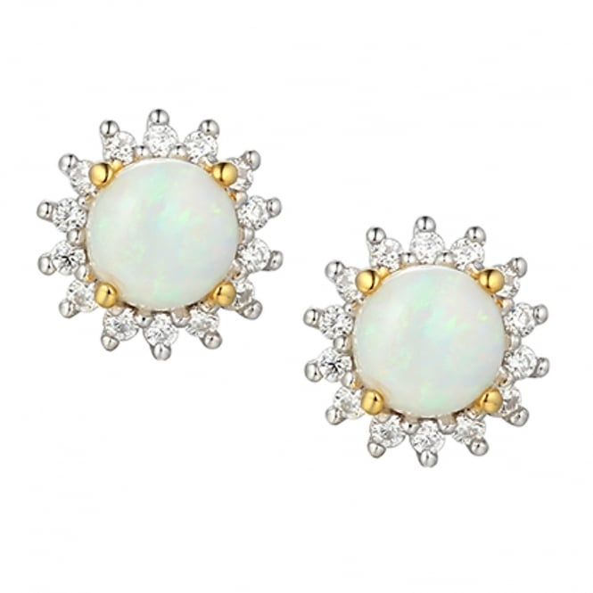 Amore Sterling Silver Opal Shimmer Stud Earrings